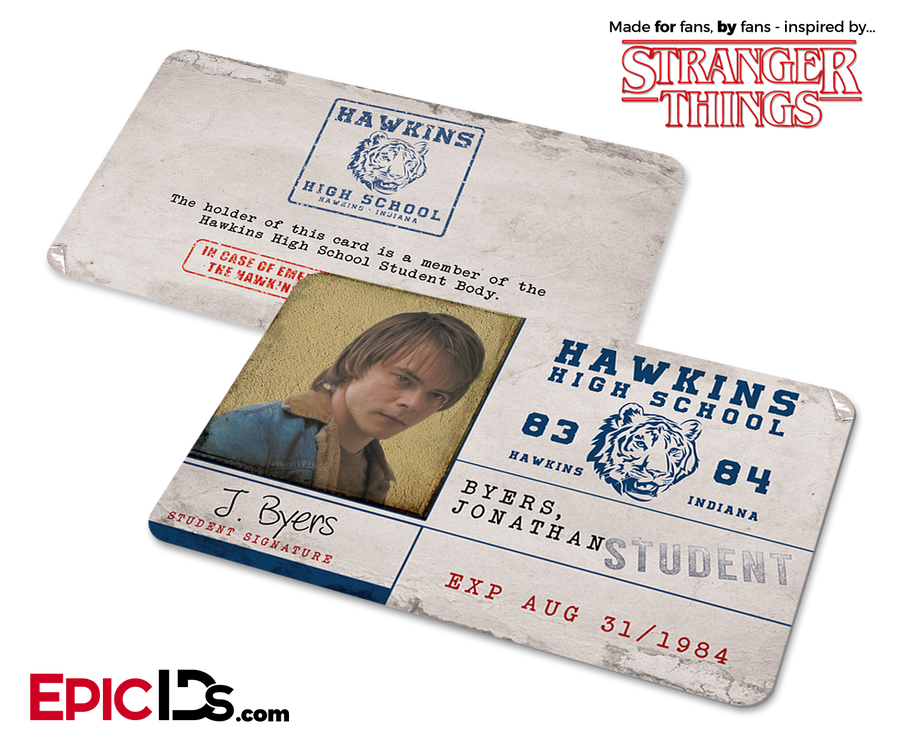 Hawkins High School 'Stranger Things' Student ID Card - Jonathan Byers