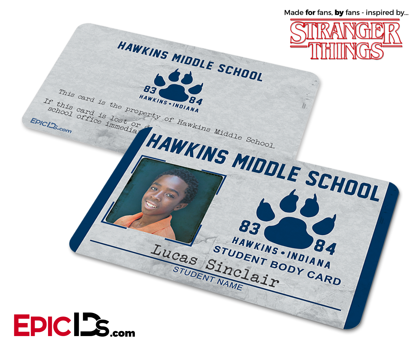 hawkins middle school stranger things student id card lucas