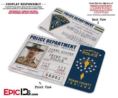 Hawkins Police Department 'Stranger Things' ID Card - Jim Hopper (James)