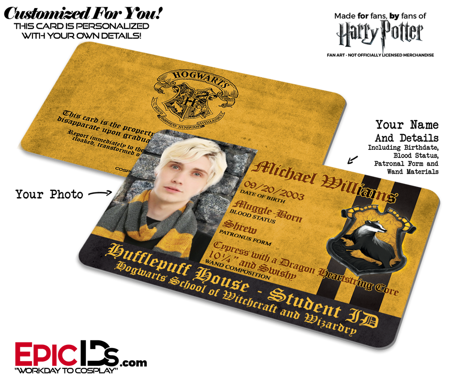 Hogwarts School 'Hufflepuff' Harry Potter Inspired Student ID [Photo Personalized]