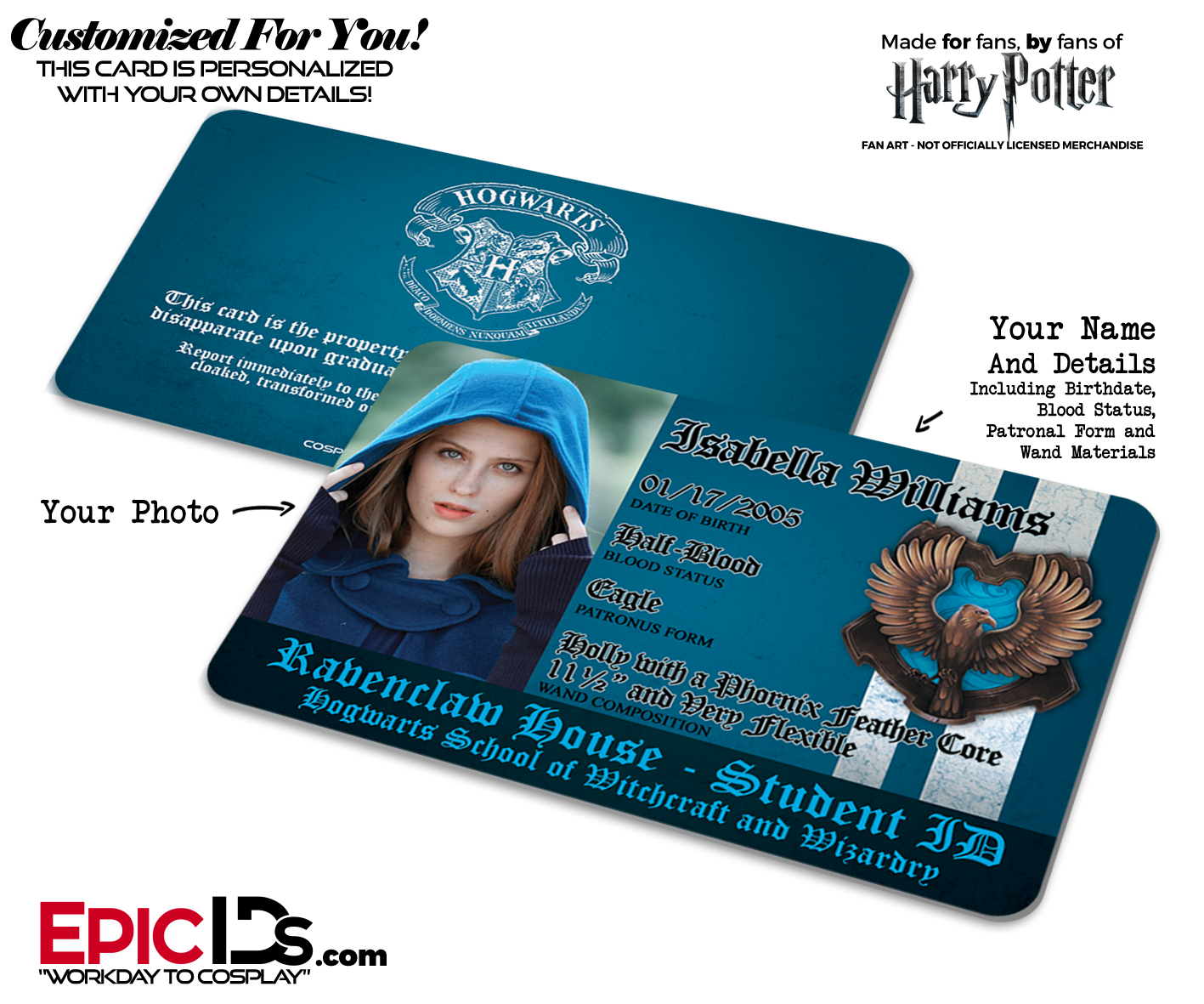 photo Harry 'ravenclaw' Student Inspired School Personalized Hogwarts Potter Id