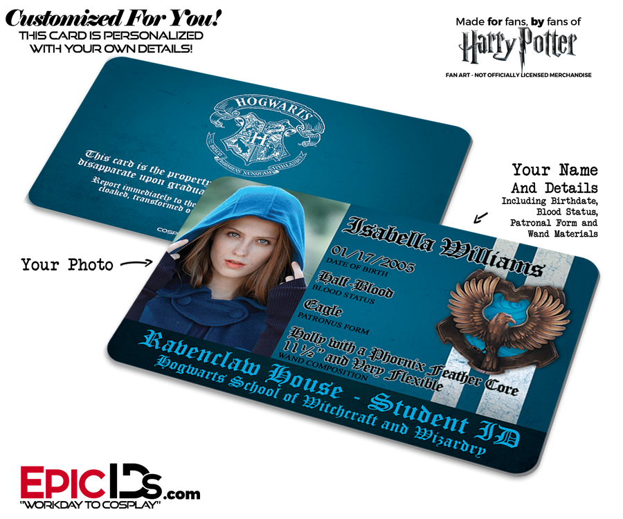 Hogwarts School 'Ravenclaw' Harry Potter Inspired Student ID [Photo Personalized]