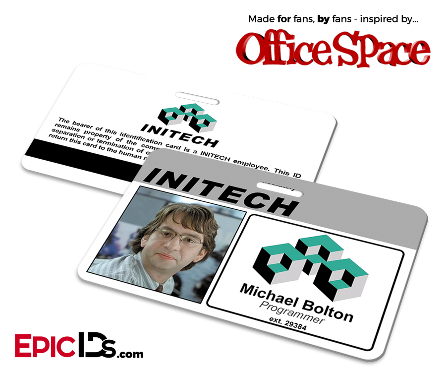 Office Space Inspired Initech Employee ID / Name Badge - Michael Bolton