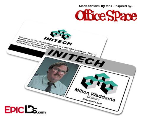 Office Space Inspired 'Milton Waddams' Initech Employee ID Card