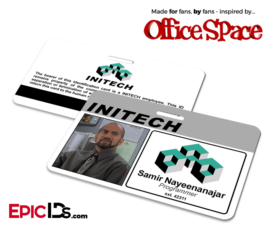 Office Space Inspired Initech Employee ID / Name Badge - Samir Nayeenanajar