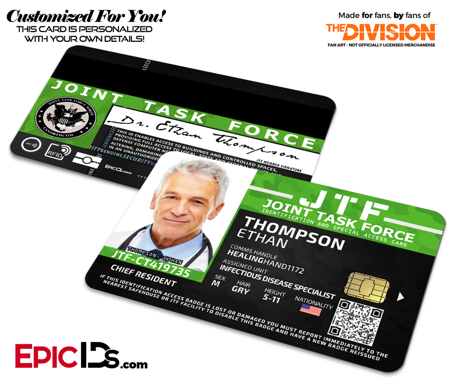 Joint Task Force (JTF) 'The Division' Agent ID Card [Photo Personalized]