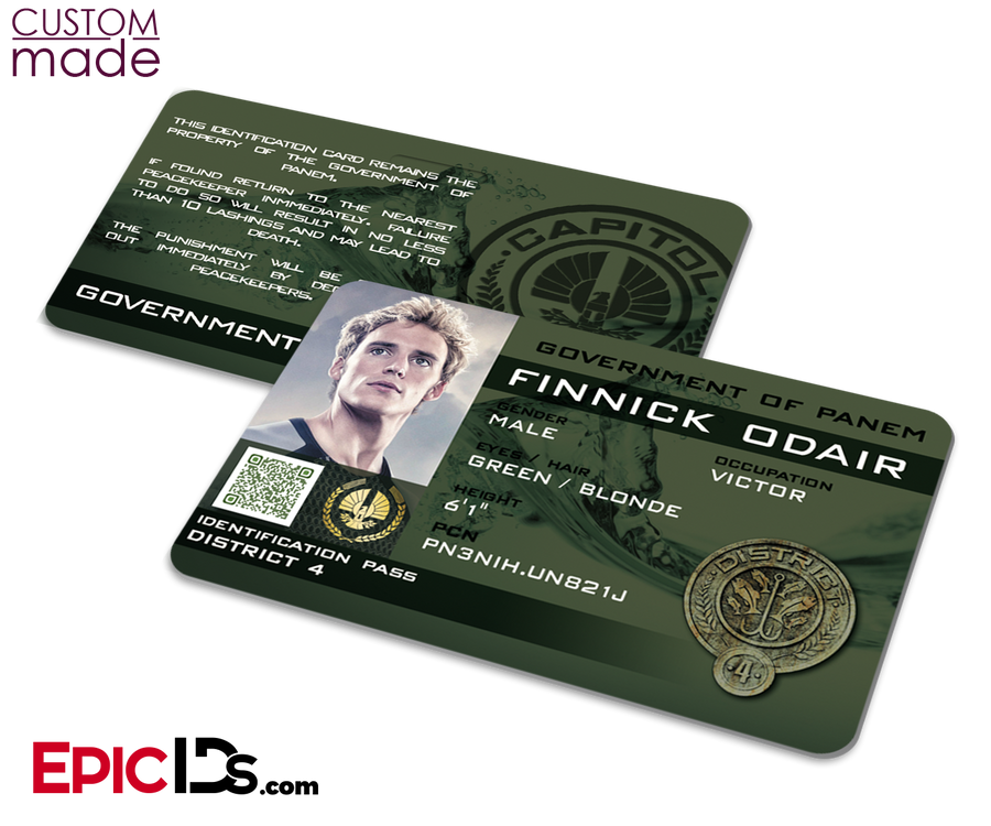 "Custom Order [Webb] - The Hunger Games Inspired Panem District 4 ""Finnick Odair"" Identification Card"