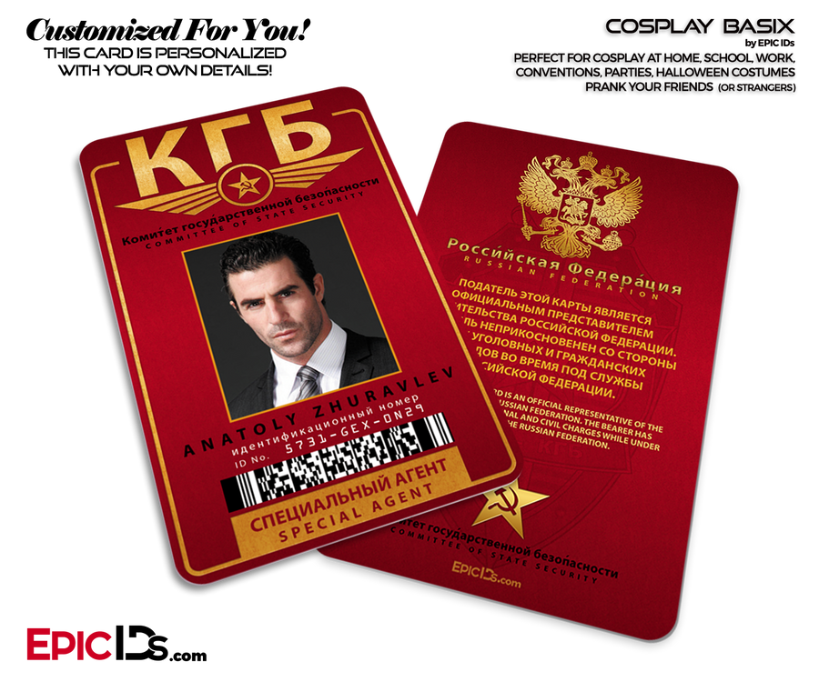 KGB Soviet Union Security Agency 'Russian' Themed Cosplay ID Badge