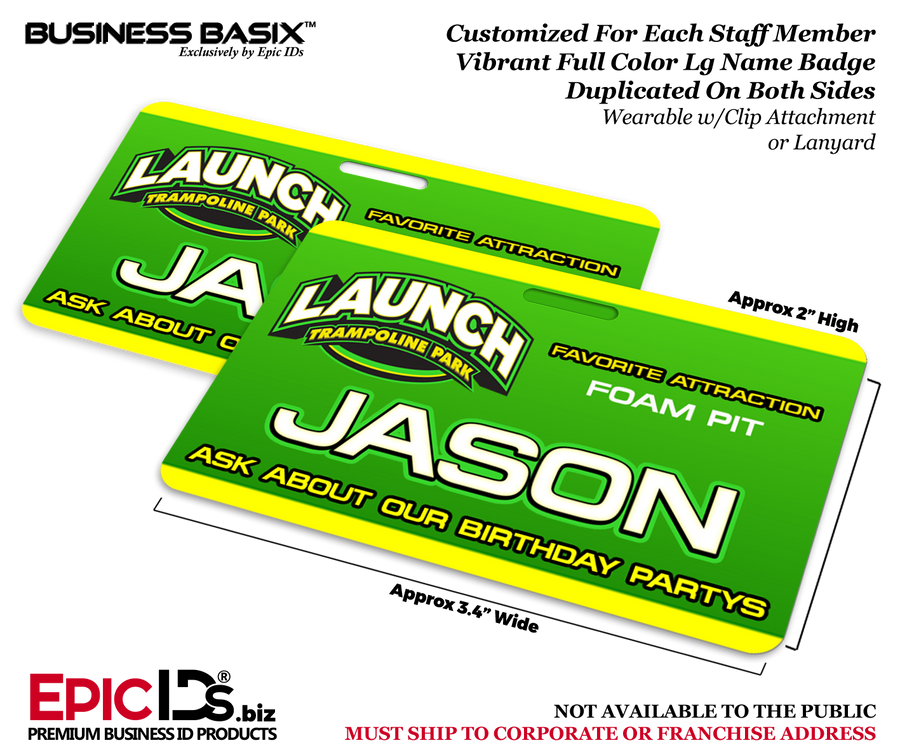 Launch Trampoline Park Customized Staff Full Color Large Name Badge ID (24 Pack)