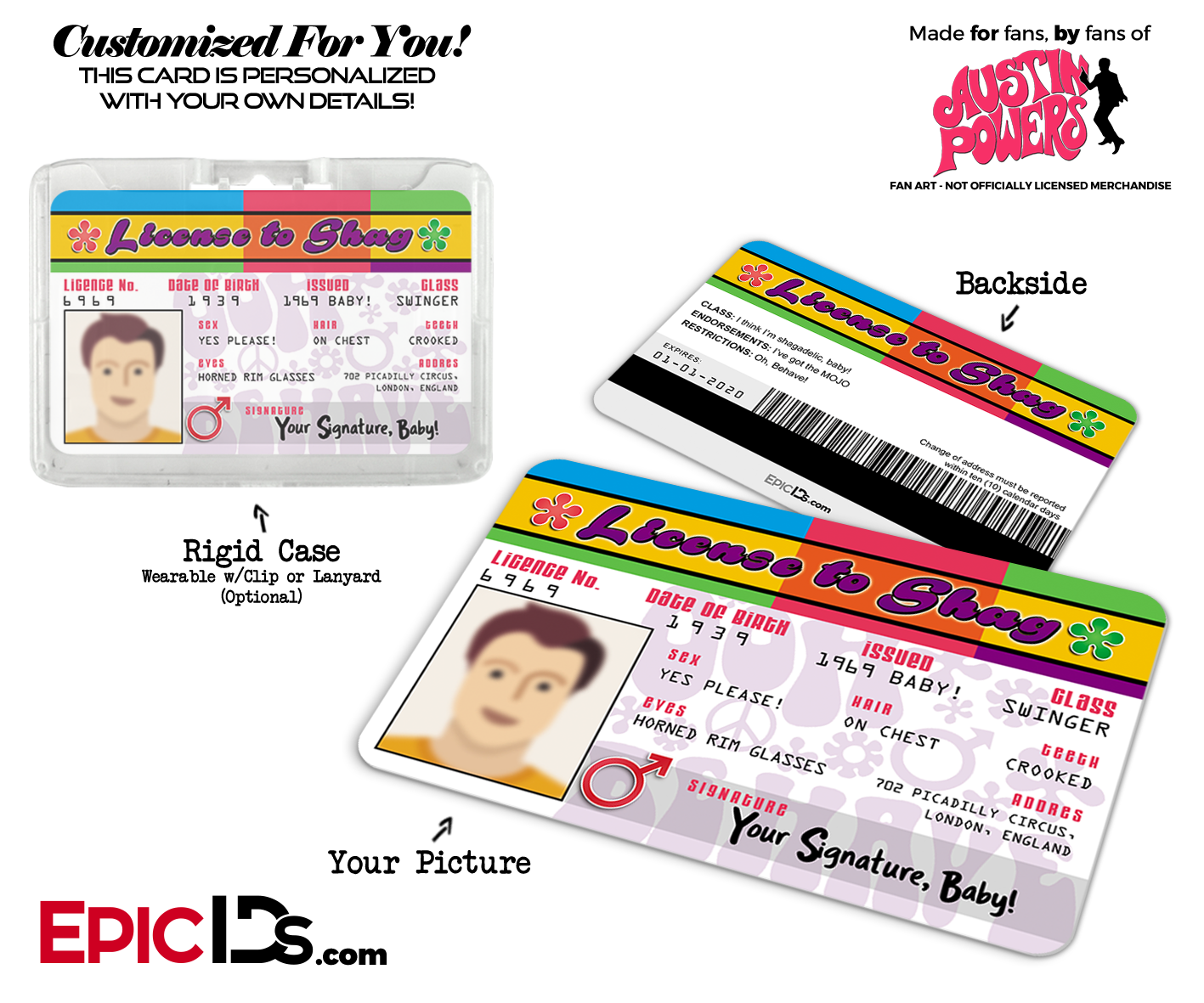 Shag Card photo Cosplay Novelty To - Epic Powers' Persona Ids Id 'austin License