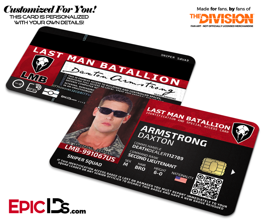 Last Man Batallion (LMB) 'The Division' Soldier ID Card [Photo Personalized]
