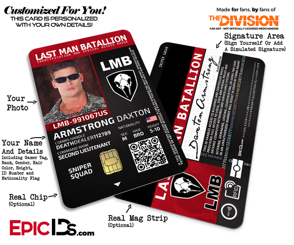 Last Man Batallion (LMB) 'The Division' Soldier ID Badge [Photo Personalized]