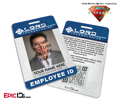 Supergirl TV Series Inspired LORD Technologies Employee ID [Photo Personalized]