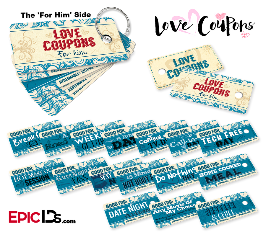 Double-Sided Mini Love Coupons Set 'For Her / For Him' w/Two Ring Style Holders