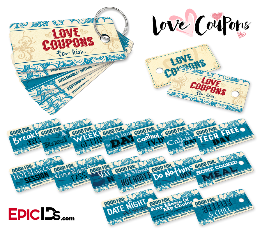 Mini Love Coupons Set 'For Him' w/Ring Style Holder - Personalized