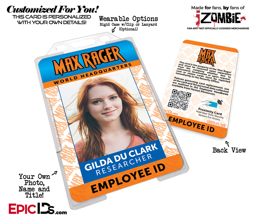 Max Rager 'iZombie' Cosplay Employee ID Name Badge [Custom / Photo Personalized]