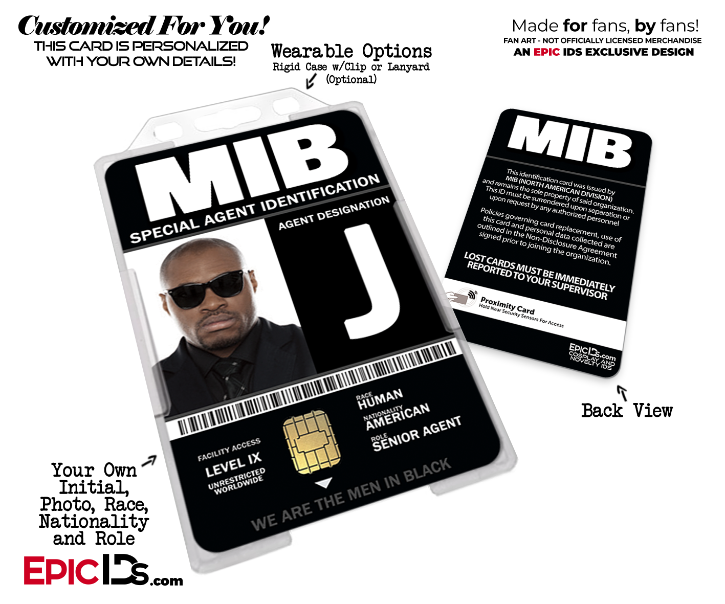 Special Agent Mib Men In Black Cosplay Name Badge Custom Photo Personalized