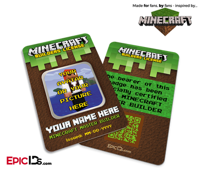 Minecraft Inspired 'Personalized' Builders License ID Card