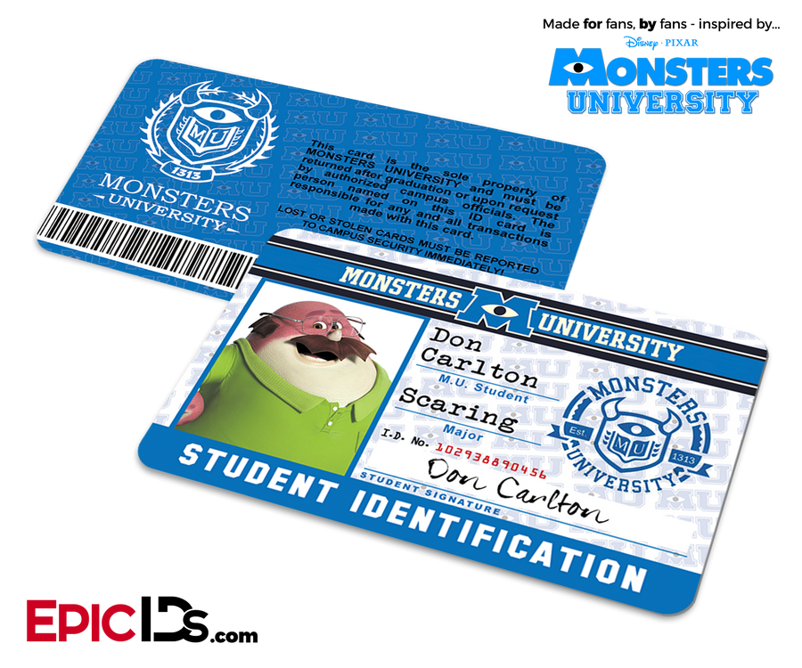 Monsters University Cosplay Student ID Card - Don Carlton