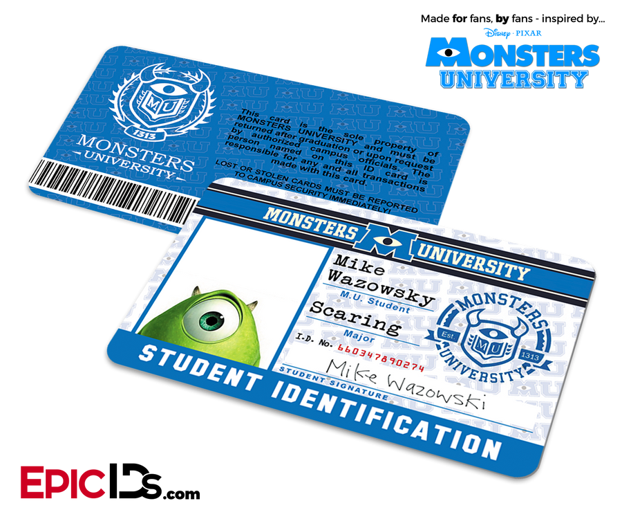 Monsters University Cosplay Student ID Card - Mike Wazowski
