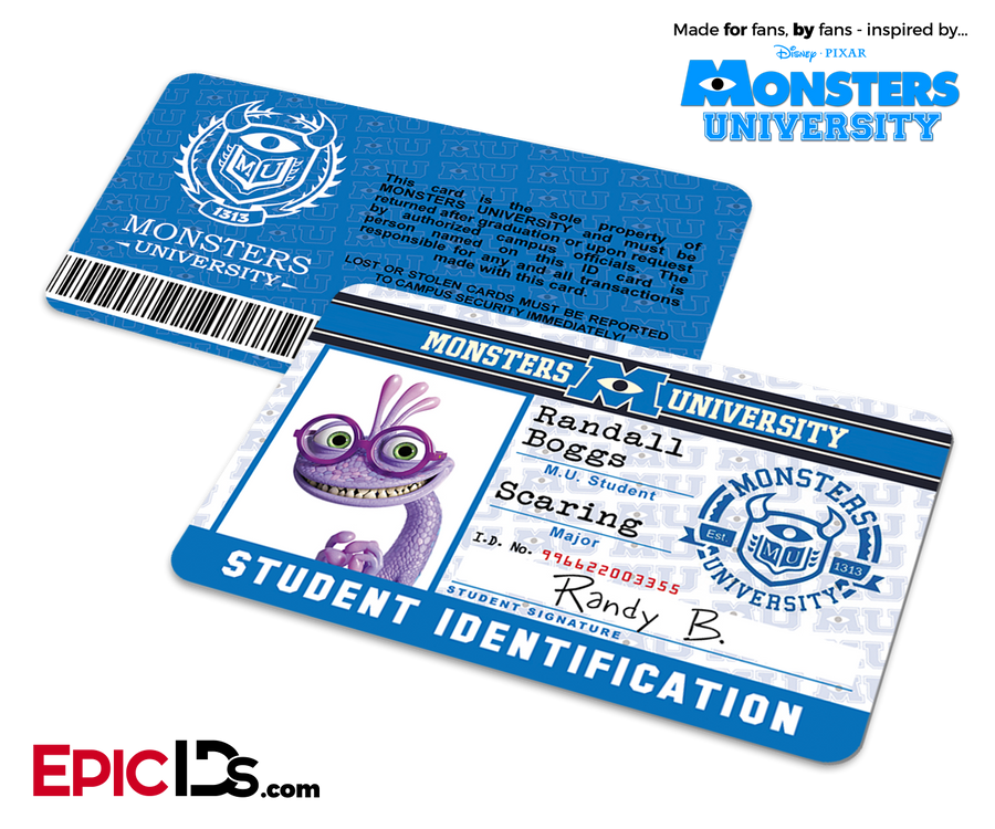 Monsters University Cosplay Student ID Card - Randy Boggs