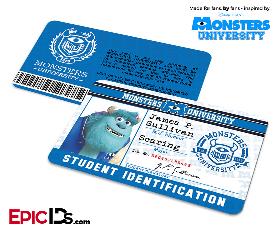 Monsters University Cosplay Student ID Card - James Sullivan