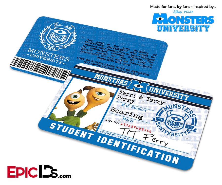 Monsters University Cosplay Student ID Card - Terri/Terry Perry