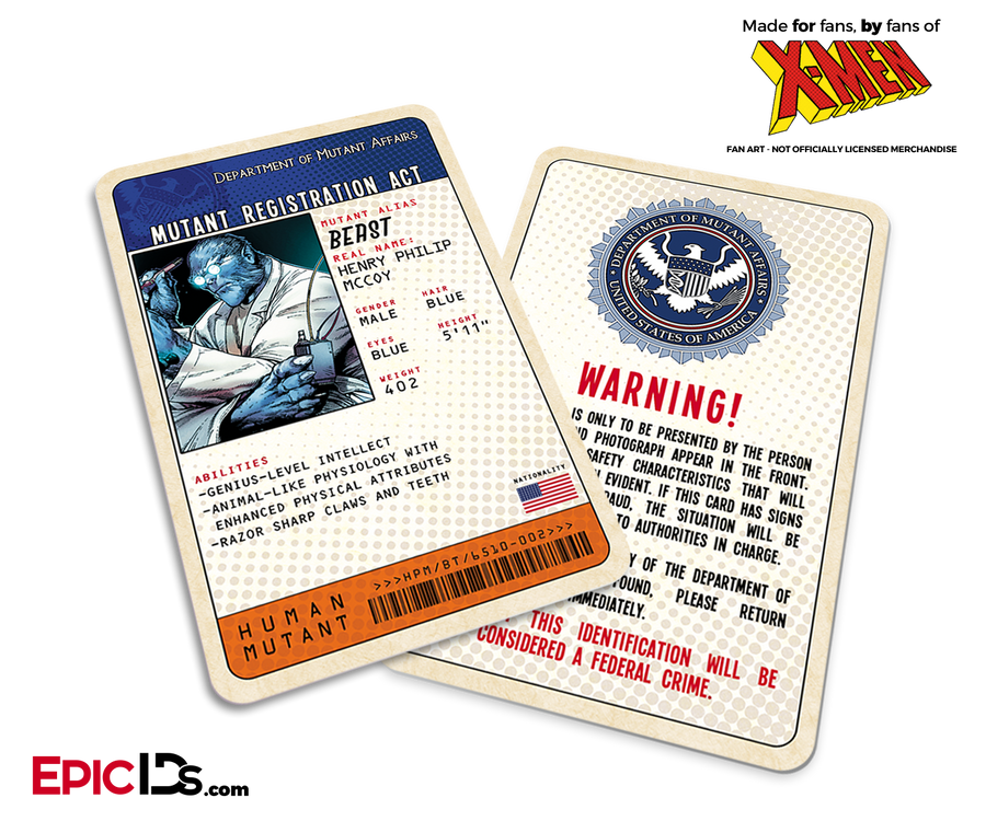 Mutant Registration Act 'X-Men' Classic Comic Identification Card - Henry McCoy / Beast