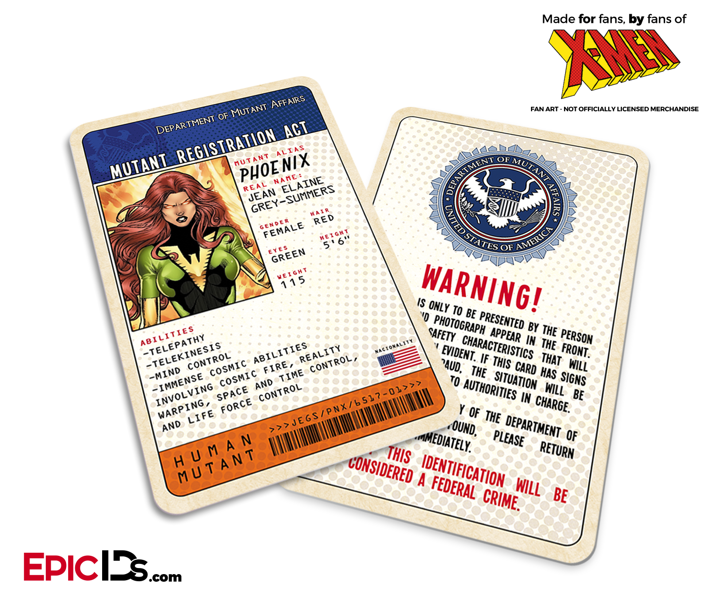 Mutant Registration Act 'X-Men' Classic Comic Identification Card - Jean  Grey / Phoenix