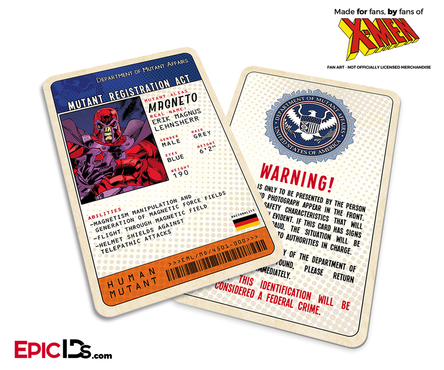 Mutant Registration Act 'X-Men' Classic Comic Identification Card - Erik Legnsherr/ Magneto