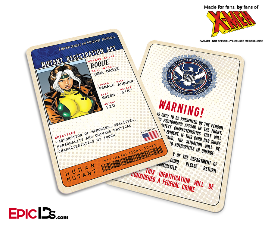 Mutant Registration Act 'X-Men' Classic Comic Identification Card - Anna Marie / Rogue