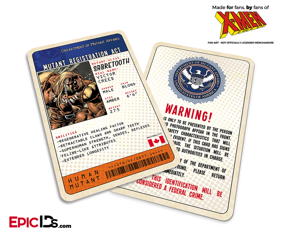 Mutant Registration Act 'X-Men' Classic Comic Identification Card - Victor Creed / SaberTooth