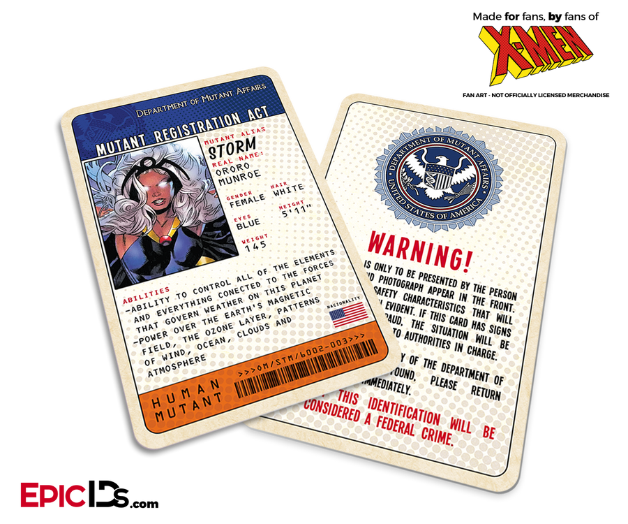 Mutant Registration Act 'X-Men' Classic Comic Identification Card - Ororo Munroe / Storm