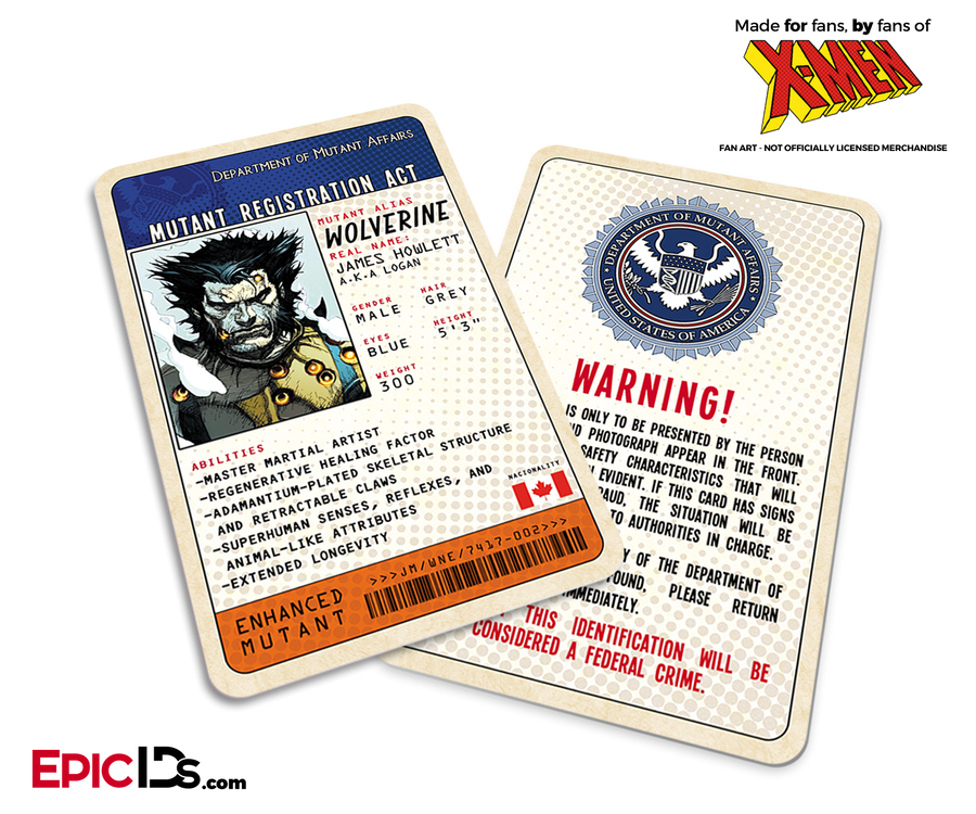 Mutant Registration Act 'X-Men' Classic Comic Identification Card - James Howlett 'Logan' / Wolverine