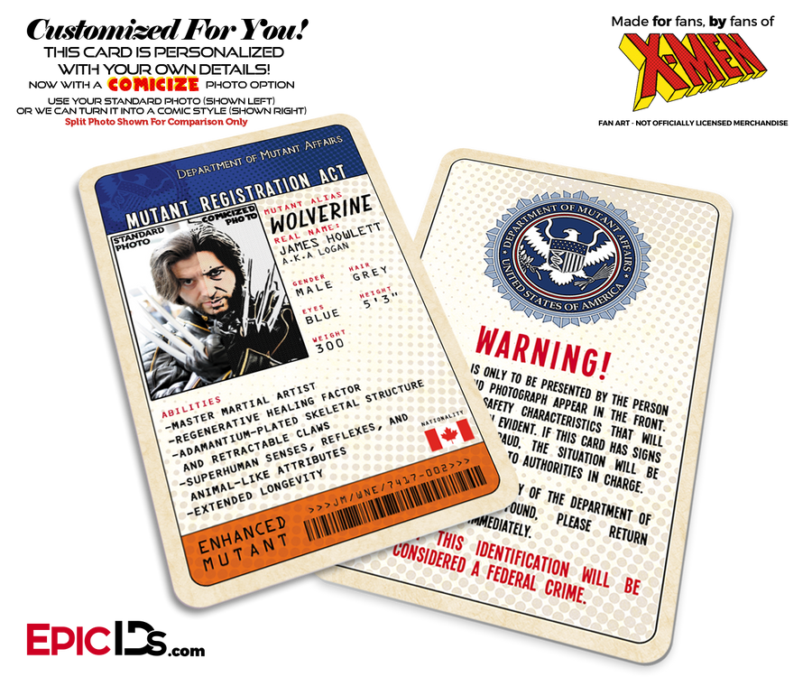 Mutant Registration Act 'X-Men' Classic Comic Identification Card - Photo Personalized