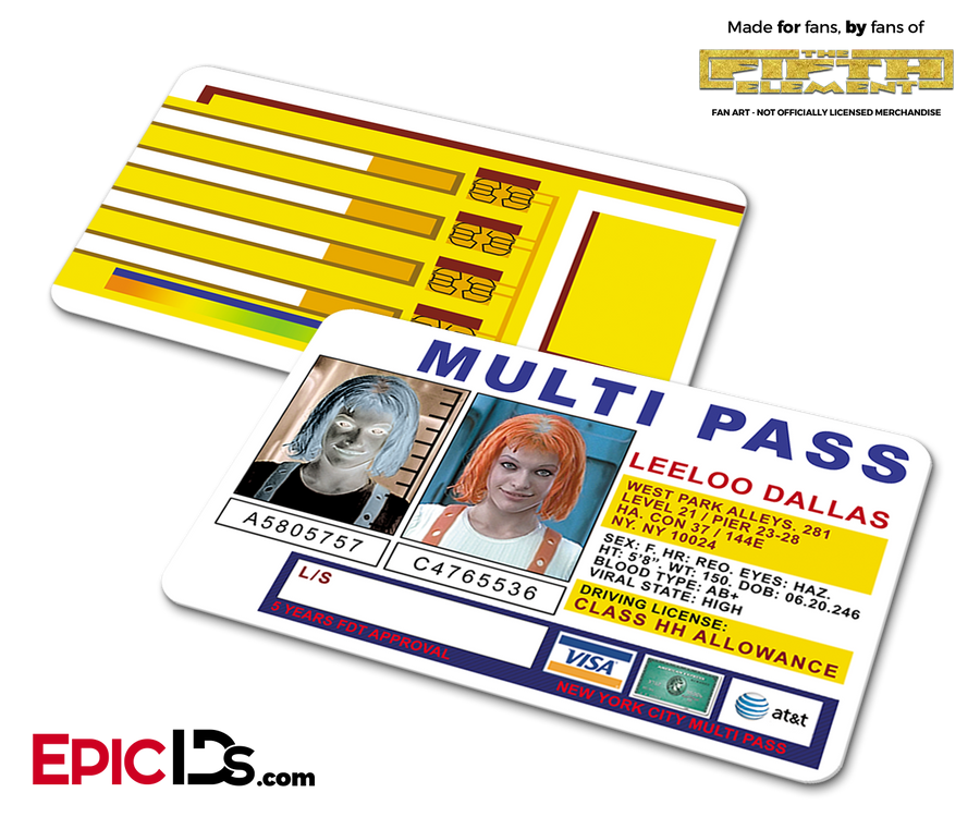 The Fifth Element Inspired Leeloo Dallas Multi Pass Card