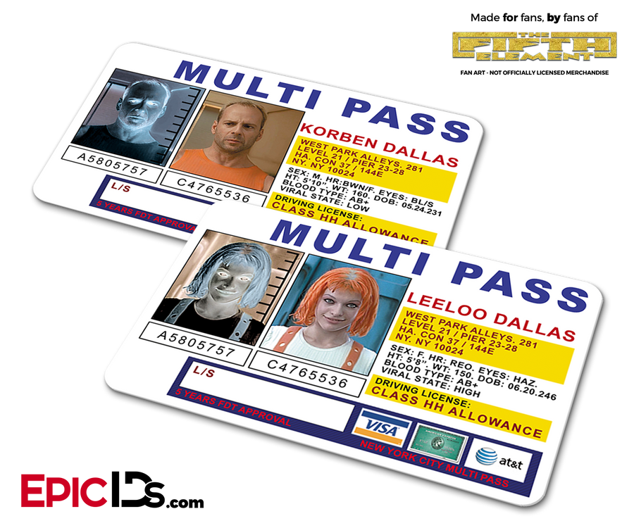 Multi Pass 'Fifth Element' Korban Dallas & Leeloo Dallas Couple Set