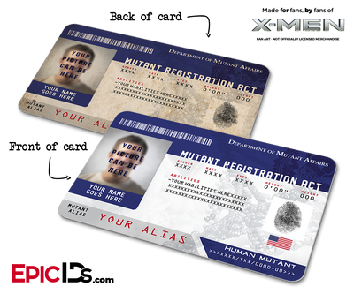 Mutant Registration Act 'X-Men' Identification Card - [Photo Personalized]