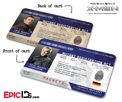 Mutant Registration Act 'X-Men' Identification Card - Erik Lehnsherr / Magneto