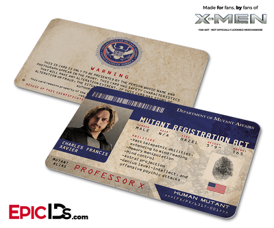 Mutant Registration Act 'X-Men' Identification Card - Charles Xavier / Professor X
