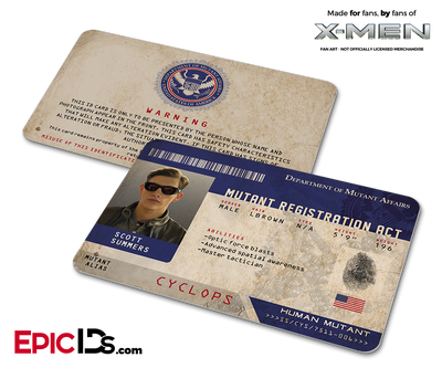 Mutant Registration Act 'X-Men' Identification Card - Scott Summers / Cyclops