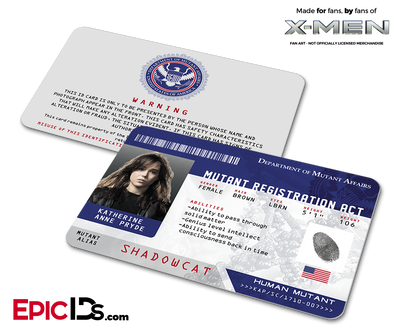 "Mutant Registration Act 'X-Men' Identification Card - Katherine ""Kitty"" Pryde / Shadowcat"