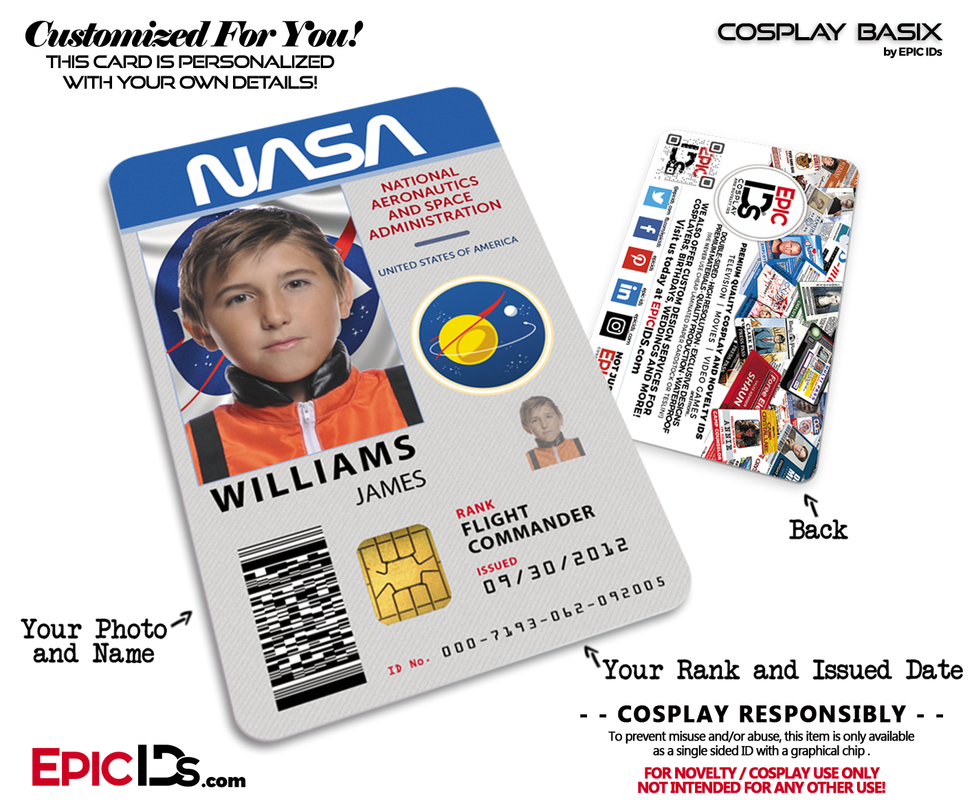 NASA Astronaut Themed Cosplay Access ID Badge - Epic IDs