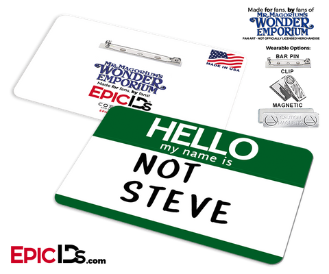 Mr. Magorium's Wonder Emporium 'NOT STEVE' Cosplay Replica Name Badge