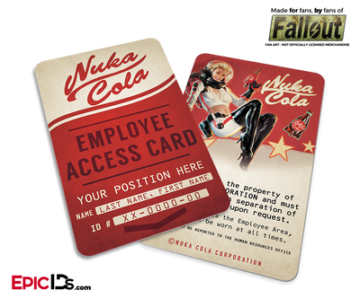 Nuka-Cola Corporation  'Fallout' Cosplay Employee ID Badge [Personalized]