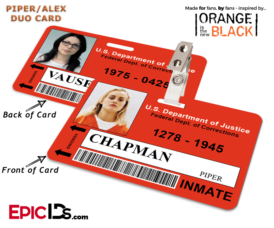 Litchfield Penitentiary 'OITNB' Inmate Wearable ID Badge -  Piper & Alex Reversible Duo ID