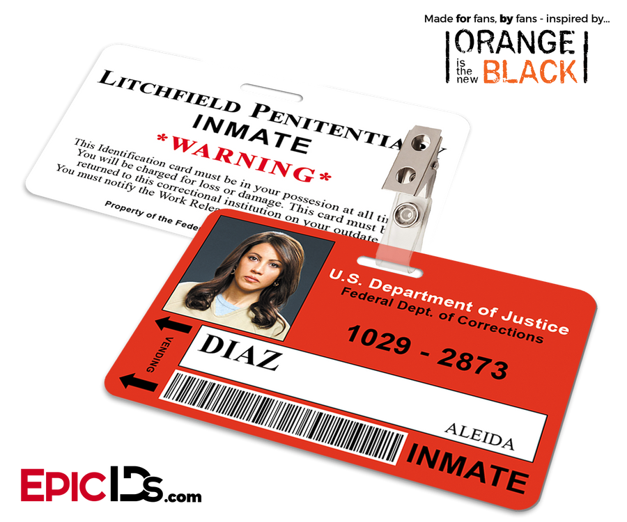 Litchfield Penitentiary 'OITNB' Inmate Wearable ID Badge - Diaz, Aleida