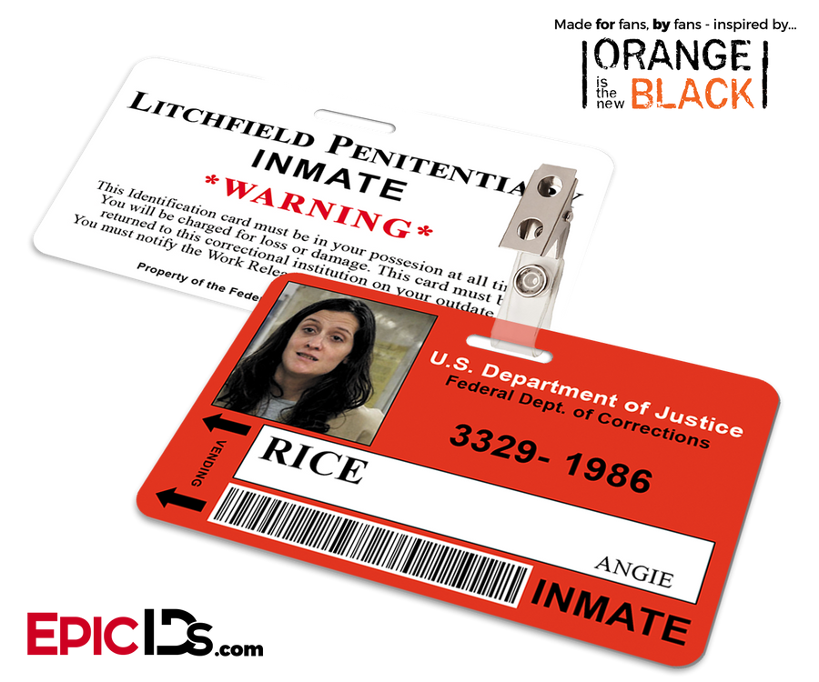 Litchfield Penitentiary 'OITNB' Inmate Wearable ID Badge - Rice, Angie