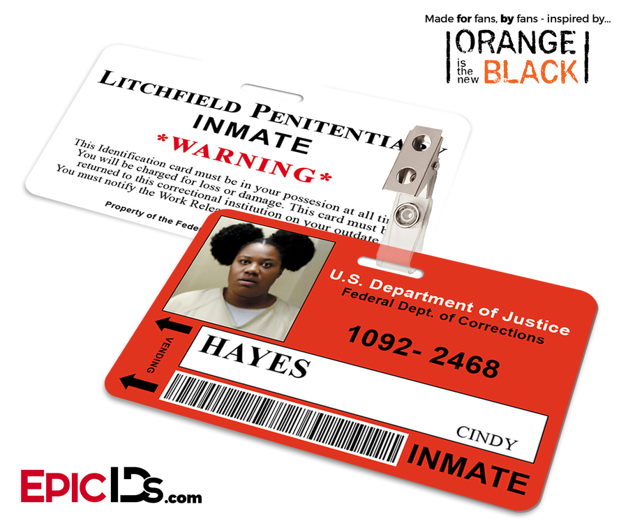 Litchfield Penitentiary 'OITNB' Inmate Wearable ID Badge - Hayes, Cindy (Black Cindy)