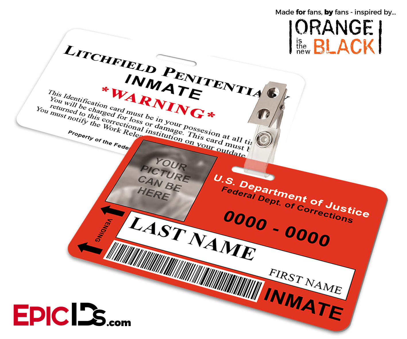 Litchfield Penitentiary OITNB Inmate Wearable ID Badge Photo Personalized